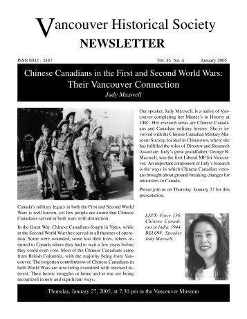 January 2005 - Vancouver Historical Society