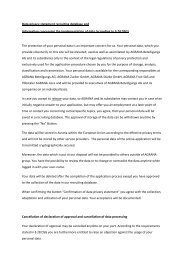 Data privacy statement recruiting database and information ... - Agrana