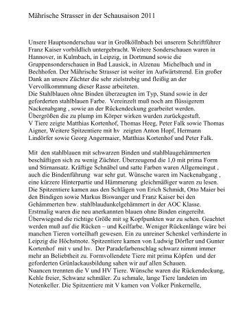 Mährische Strasser in der Schausaison 2011 - sv-maehrischer ...