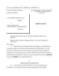 A-1 Pavement Marking, LLC v. APMI Corp - the North Carolina ...