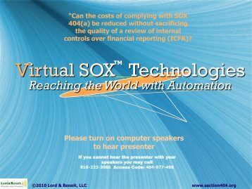 Virtual SOX Technology - Reaching the World with ... - Lord & Benoit