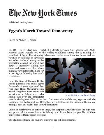 democracy egypt essay Struggle for democracy in egypt and libya egypt, in terms of democracy, is limited superficially it contains all the basic requirements of a democracy: a parliament.