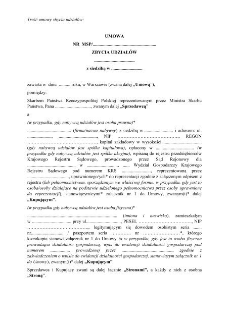 Unicon sp. z o.o. - umowa pomiędzy Skarbem Państwa
