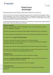 Thesis Forum Anvisningar - Studieguiden - Arcada
