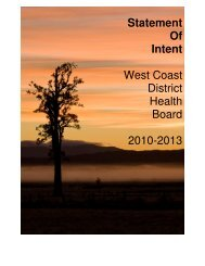 WCDHB Statement of Intent: 2010 - 2013 - West Coast District ...