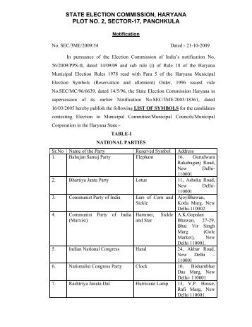 list of symbols orders 2009 - state election commission haryana