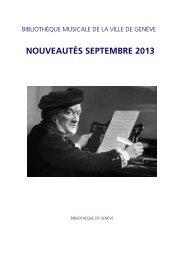 Liste bimestrielle septembre 2013 - Ville de Genève