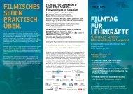 Filmtag Für lehrkräFte FilmiScheS Sehen PraktiSch üBen.