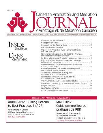 Printemps/Été 2012 - ADR Institute of Canada