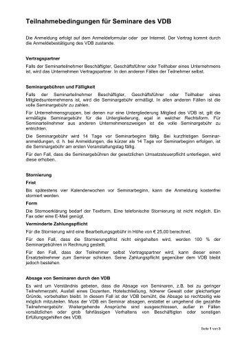 Teilnahmebedingungen als PDF-Datei... - Verband Deutscher ...