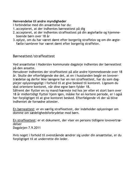 HÅNDBOG DAGPLEJERE - Haderslev Kommunale Dagpleje