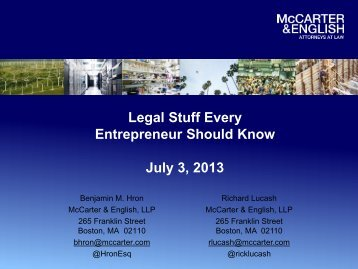 Legal Stuff Every Entrepreneur Should Know July 3, 2013