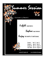 Summer Session Housing 2005 - University of Virginia