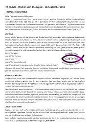 72. Impuls – Wochen vom 14. August – 10. September 2011 Thema ...