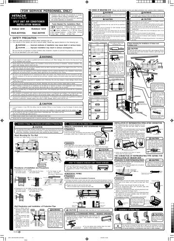 split unit air conditioner installation manual for service personnel only