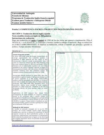 Modelo 1 Examen Traductor Oficial, inglés, escrito