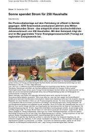 Sonne spendet Strom für 250 Haushalte - Bürgerservice GmbH Trier