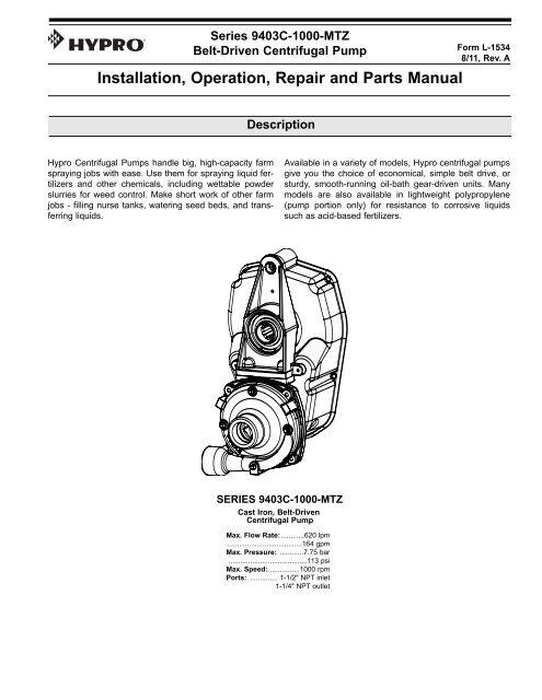 Installation, Operation, Repair and Parts Manual - Hypro Pumps