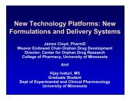 New Technology Platforms: New Formulations and Delivery Systems