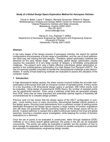 Study of a Global Design Space Exploration Method for Aerospace ...