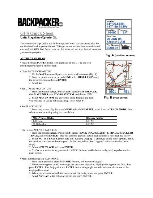 GPS Quick Sheet - Backpacker Magazine