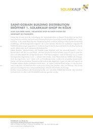 Saint-Gobain buildinG diStribution eröffnet 1. Solarkauf-Shop in köln