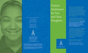 Tuition Assistance for You and Your Daughter - Marian High School
