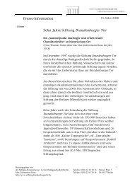 Presse-Information Zehn Jahre Stiftung Brandenburger Tor