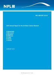 2010 Annual Report for the UK Black Carbon Network - UK-Air - Defra