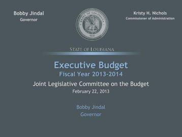 FY 14 Budget Presentation to JLCB, 2/21/2013 - Division of ...