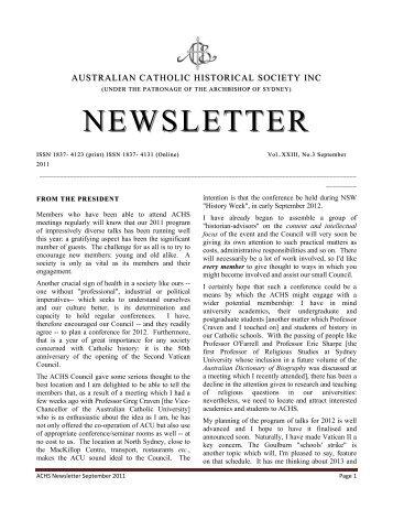 September 2011 - Australian Catholic Historical Society