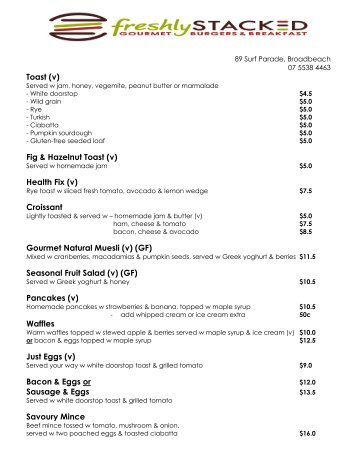 Menu Example - Broadbeach