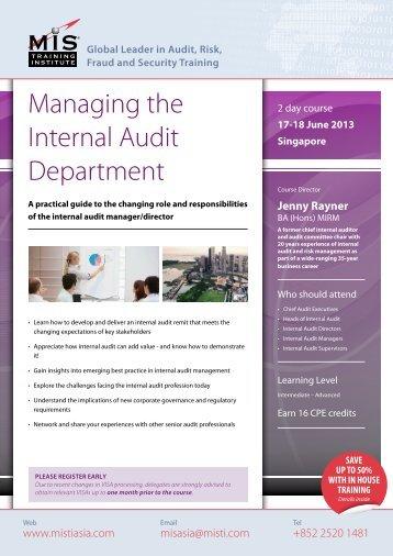 Managing the Internal Audit Department - MIS Training - Asia