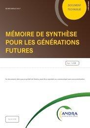 Mémoire de synthèse pour les générations futures (CSM) - Andra