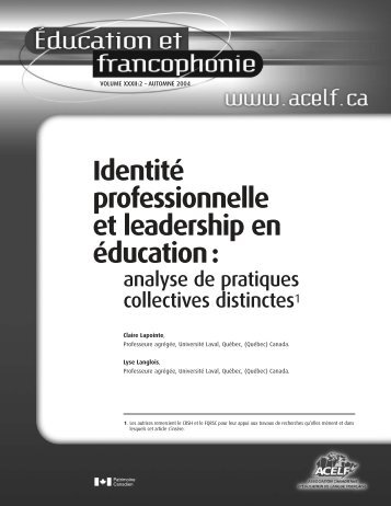 L'identité professionnelle des chefs d'établissements scolaires - acelf