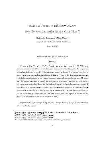 Technical Change vs E ciency Change: How do Food ... - Sfer