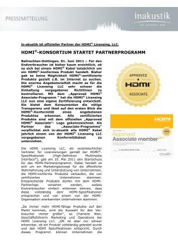 HDMI®-KONSORTIUM STARTET PARTNERPROGRAMM - In-Akustik
