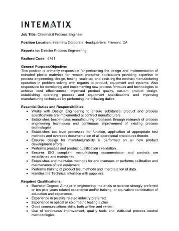 manufacturing engineer job description process engineer resume