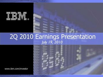 revenue growth with positive trends 2Q10 Revenues - IBM