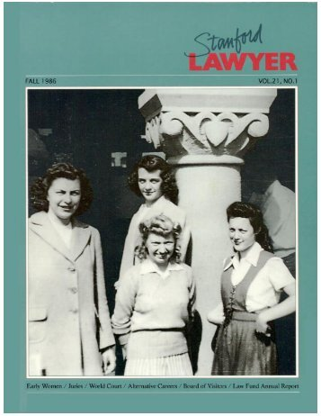 The Venturesome Women of Stanford Law - Women's Legal History ...