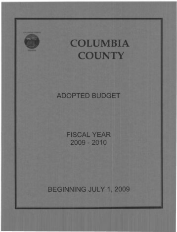 View the 2010-2011 Adopted Budget Report - Columbia County