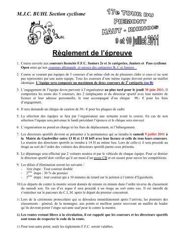 M.J.C. BUHL Section cyclisme - Le cyclisme d'Alsace