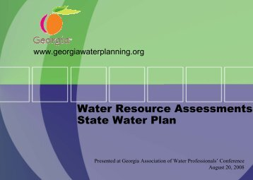 GAWP Water Resource Assessments - Georgia's State Water Plan