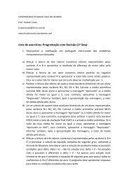 Lista de exercícios: Programação com Decisão (1ª ... - Hudson Costa