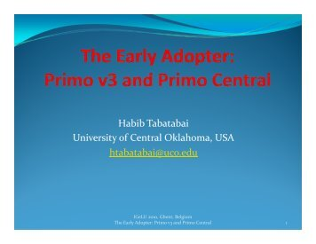Habib Tabatabai University of Central Oklahoma USA ... - IGeLU