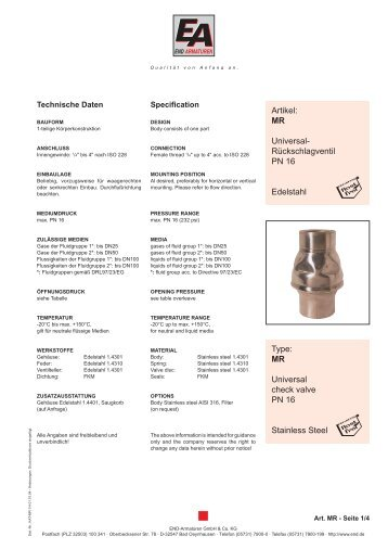 MR Universal check valve PN 16 Stainless Steel