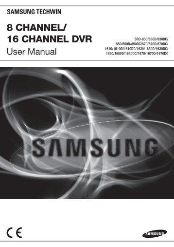 UserManual Samsung SRD-870D/870DC DVR