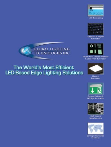 Applications include - Global Lighting Technologies, Inc.