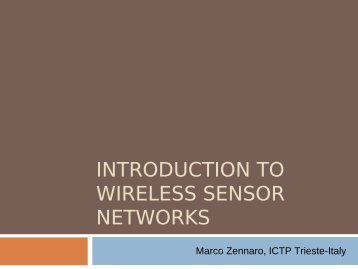 INTRODUCTION TO WIRELESS SENSOR NETWORKS - EsLaRed