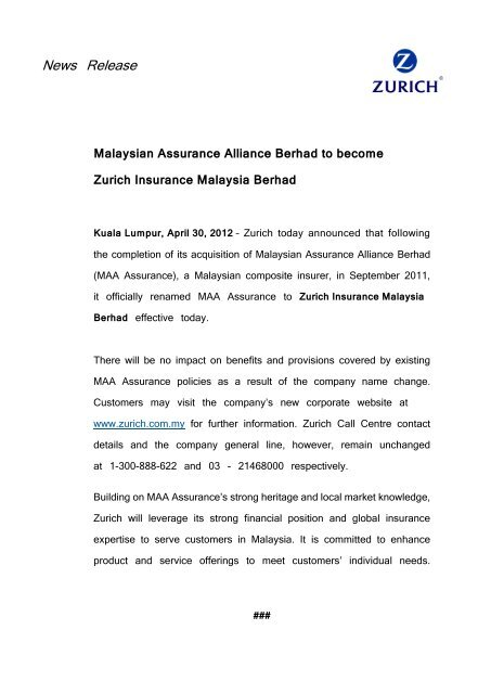 Malaysian Assurance Alliance Berhad To Become Zurich Insurance